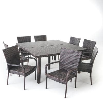 Multi-Brown 9-Piece Iron Square Outdoor Dining Set