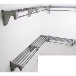 18 ft. Steel Closet Organizer Kit with 3-Expandable Shelf and Rod Units in Silver with 2 End Brackets