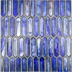 Fargin Cobalt Ice Elongated Hexagon 12 in. x 10 in. x 7mm Polished Glass Mosaic Tile (0.82 sq. ft.)
