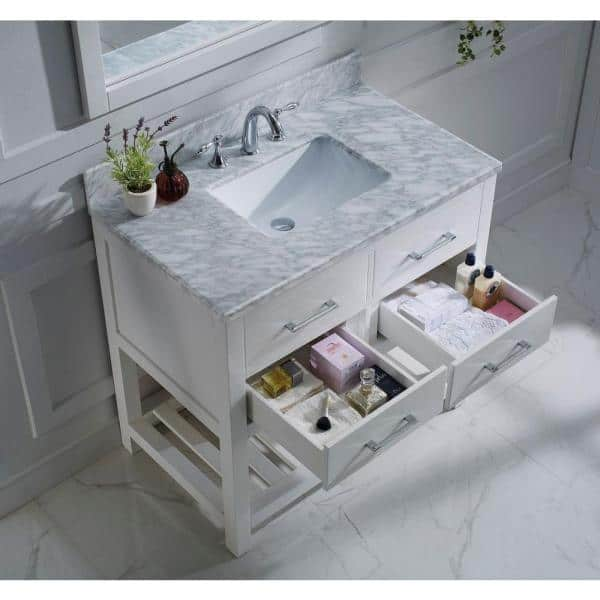 Virtu Usa Caroline Estate 36 In W Bath Vanity In White With Marble Vanity Top In White With Square Basin And Mirror Ms 2236 Wmsq Wh The Home Depot