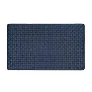 Woven Embossed Faux Leather Navy 18 in. x 30 in. Anti-Fatigue Mat