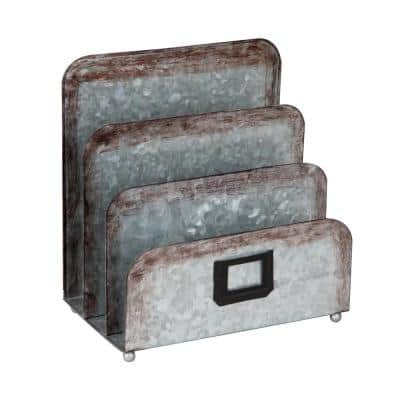 3-Section Galvanized Metal Magazine Holder, Silver, 5.91 in. L x 9.84 in. W x 9.84 in. H