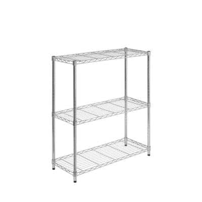 Chrome 3-Tier Metal Wire Shelving Unit (14 in. W x 30 in. H x 24 in. D)