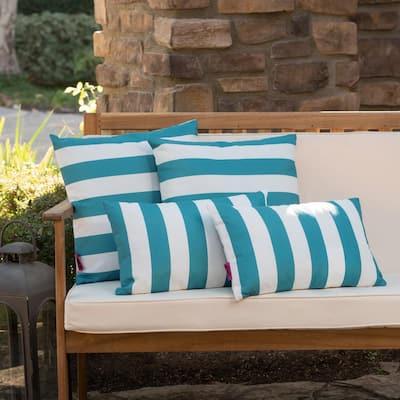 Coronado Dark Teal Outdoor Throw Pillow (4-Pack)