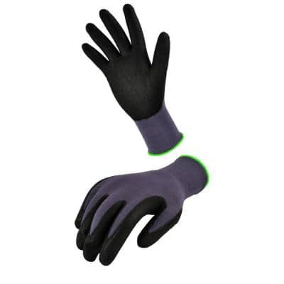 Seamless Knit Nylon Nitrile Large Black Form Coated Work Gloves (6-Pair)