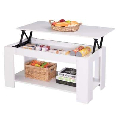 40 in. White Medium Rectangle Wood Coffee Table with Lift Top