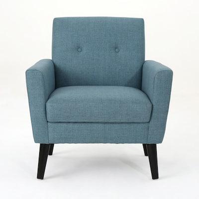 Sienna Mid-Century Modern Button Back Blue Fabric Club Chair