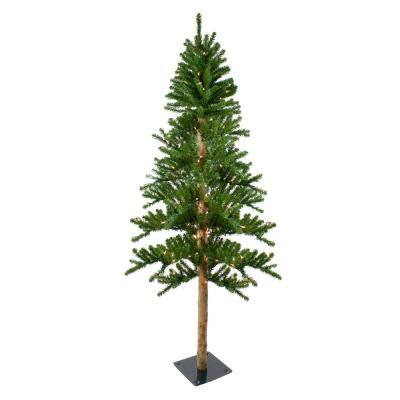 6 ft. Pre-Lit Alpine Artificial Christmas Tree, Clear Lights