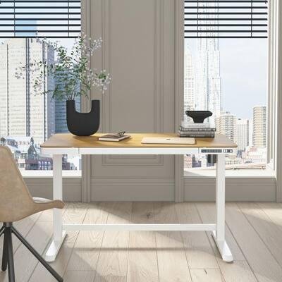 Juno Height-Adjustable Desk with Wireless Charging in Oak Top