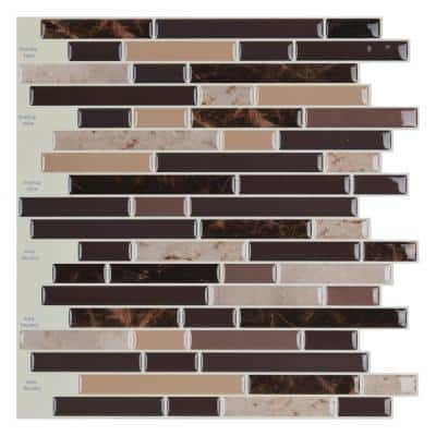 Strip Brown 12 in. x 12 in. Vinly Peel and Stick Backsplash Tiles 9.8 sq. ft./pack