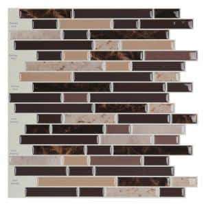 12 in. x 12 in. Peel and Stick Vinyl Backsplash Tile in Long Stone (6-Pack)