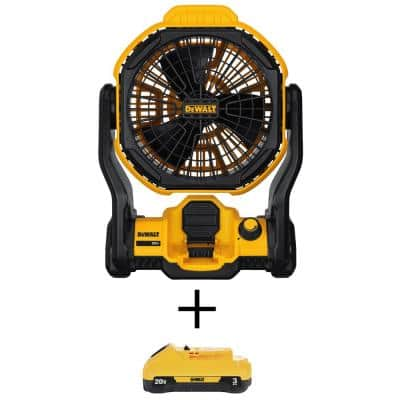 20-Volt MAX Cordless and Corded 11 in. Jobsite Fan with (1) 20-Volt 3.0Ah Battery