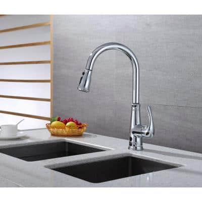Single-Handle Pull-Down Sprayer Kitchen Faucet with Hands-Free feature in Chrome
