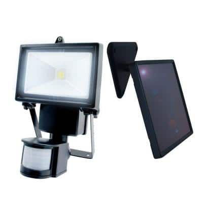 Single COBBlackOutdoor Solar Motion ActivatedSecurityFloodLight with Integrated LED