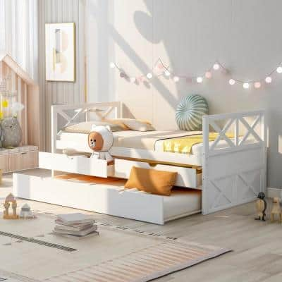 White Twin Size Wood Daybed with 2-Drawers and Trundle
