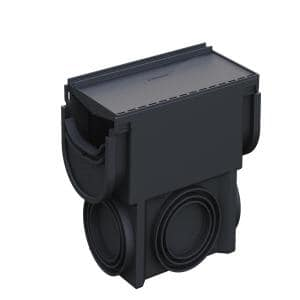 Compact Series Invisible Edge Black Drainage Pit and Catch Basin for 5.4 in. Modular Trench and Channel Drain Systems