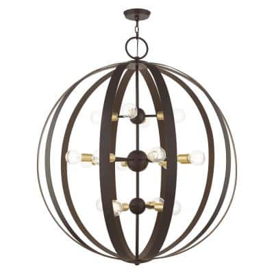 Modesto 16-Light Bronze and SatinBrass Foyer Chandelier