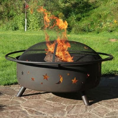 Cosmic 42 in. x 23 in. Large Round Steel Wood Burning Fire Pit with Spark Screen