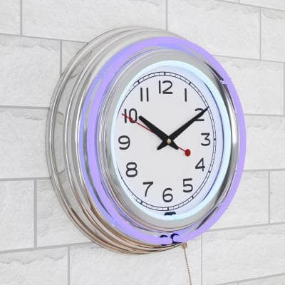 3 in. x 14 in. Purple Double Ring Neon Clock