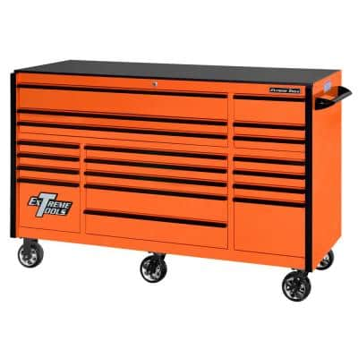 RX 72 in. 19-Drawer Roller Cabinet Tool Chest in Orange with Black Handles and Trim