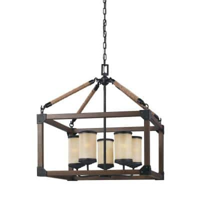 Dunning 5-Light Weathered Gray and Distressed Oak Rustic Farmhouse Single Tier Hanging Candlestick Chandelier