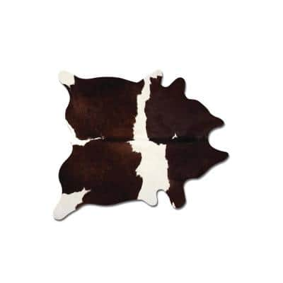 Kobe Cowhide Chocolate & White 6 ft. x 7 ft. Animal Print Area Rug
