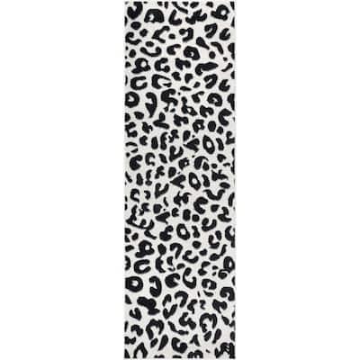 Sebastian Leopard Print Dark Gray 2 ft. x 6 ft. Runner Rug