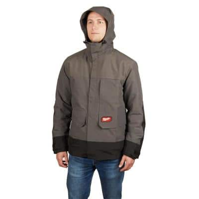 Men's Small M12 12-Volt Lithium-Ion Cordless Heated Quilted Jacket Kit with Gray Rainshell (1)2.0Ah Battery, Charger