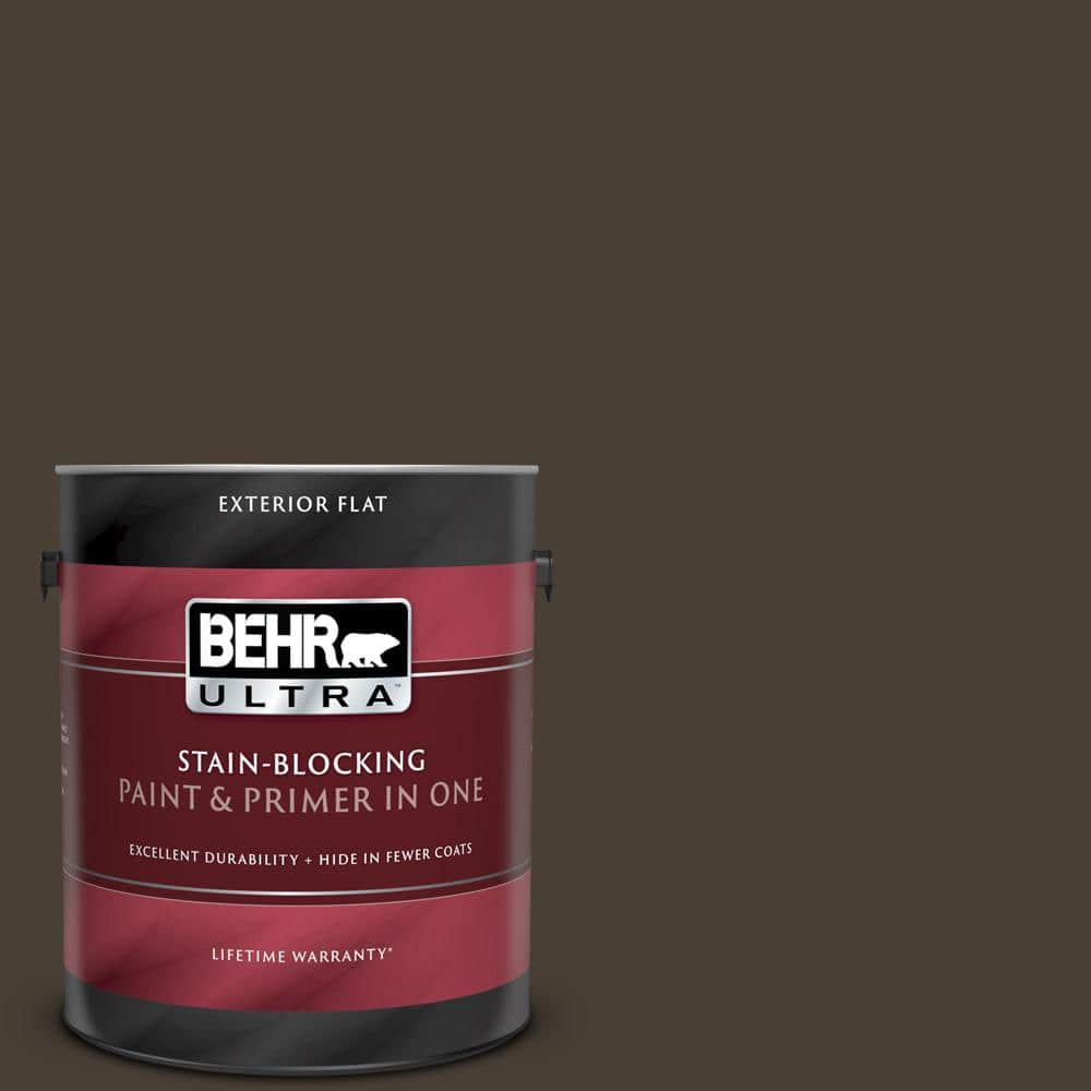 Behr Ultra 1 Gal Ppu5 20 Sweet Molasses Flat Exterior Paint And Primer In One 485301 The Home Depot