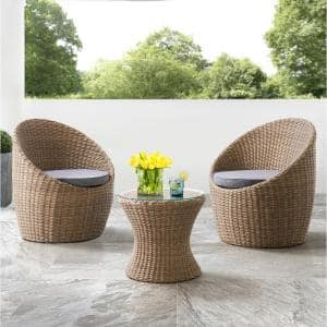 Strafford All-Weather 3-Piece Wicker Outdoor Set with 2-Chairs with Gray Cushions and 18 in. H Cocktail Table