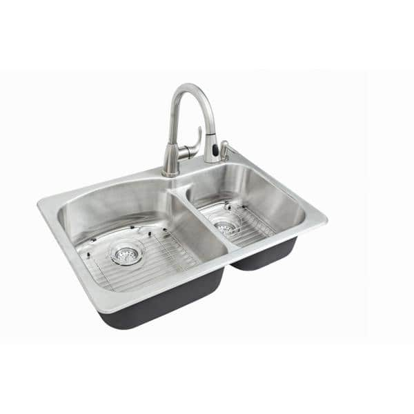 Glacier Bay All In One Dual Mount Stainless Steel 33 In 2 Hole Double Bowl Kitchen Sink Kit With Faucet Vt3322g2 The Home Depot