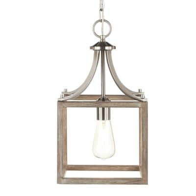 Boswell Quarter 1-Light Brushed Nickel Mini-Pendant with Weathered Wood Accents