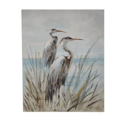 39 1/2 in. x 31 1/4 in. Shore Birds Set of 2 Hand-Painted Acrylic Paint Nature Wall Art on Canvas with gallery edge