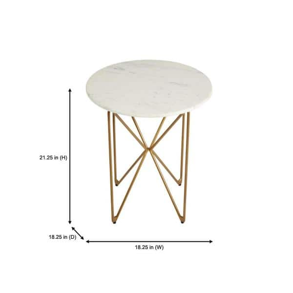 Home Decorators Collection Round Accent Table With Gold Finish Wire Base And Natural Marble Top Dc18 57756 The Home Depot