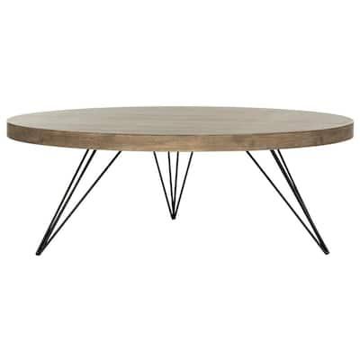 Mansel 36 in. Light Oak/Black Medium Round Wood Coffee Table