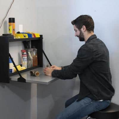 Fold-Down Wall-Mounted Workbench with Shelves