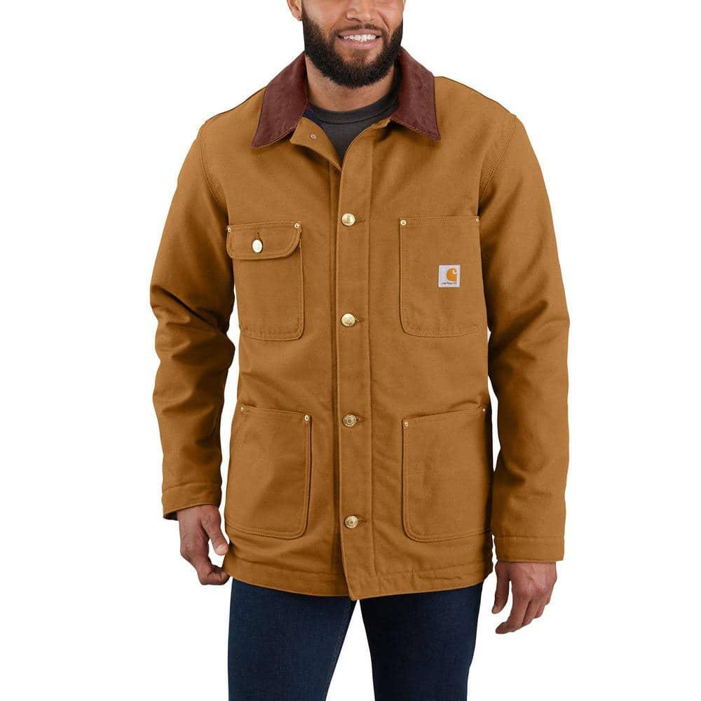 Carhartt Men S Medium Brown Cotton Firm Duck Chore Coat 103825 Brn The Home Depot [ 1000 x 1000 Pixel ]
