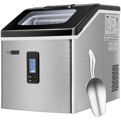Electric 40 lbs./day Countertop Portable Square Ice Cube Maker in Silver