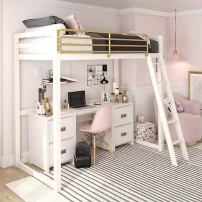 Monarch Hill Haven White and Gold Twin Metal Loft Bed
