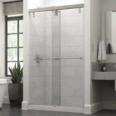 Everly 48 in. x 71-1/2 in. Mod Semi-Frameless Sliding Shower Door in Nickel and 3/8 in. (10mm) Clear Glass