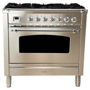 36 in. 3.55 cu. ft. Single Oven Italian Gas Range True Convection,5 Burners, LP Gas, Chrome Trim/Stainless Steel
