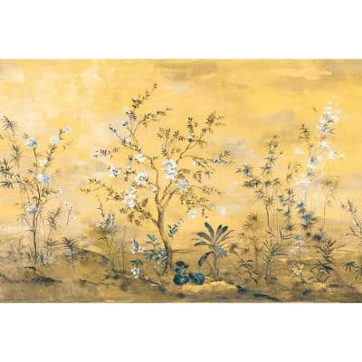 98 in. x 145 in. Yellow Chinoiserie Wall Mural