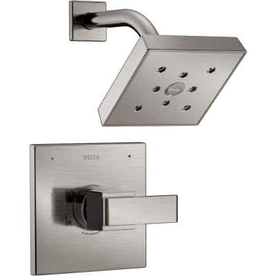 Ara 1-Handle Shower Faucet Trim Kit in Stainless Featuring H2Okinetic (Valve Not Included)