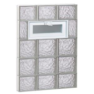 23.25 in. x 34.75 in. x 3.125 in. Frameless Ice Pattern Vented Glass Block Window