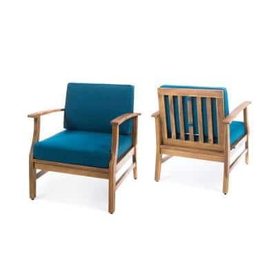 Perla Teak Finish Wood Outdoor Club Lounge Chairs with Blue Cushions (2-Pack)