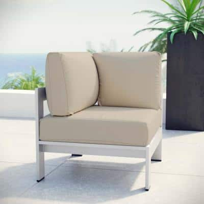 Shore Patio Aluminum Corner Outdoor Sectional Chair in Silver with Beige Cushions