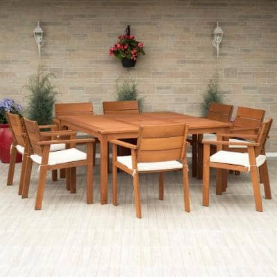 Nelson 9-Piece Square Eucalyptus Wood Patio Dining Set with Off-White Cushions