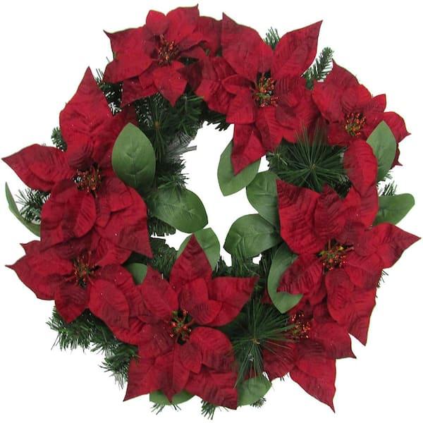 24 Christmas Velvet HydrangeaRed Apple Wreath