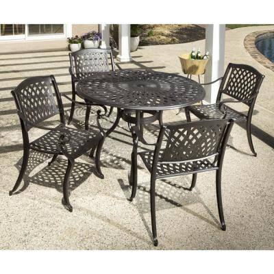 5-Piece Westbury Black Cast Aluminum Outdoor Dining Set with 48 in. Table, and Four 35.5 in. Stackable Arm Chairs
