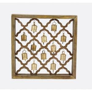 17 in. x 17 in. Lattice-Patterned Wooden Wall Plaque with Metal Bells